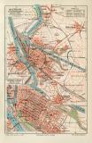 Mannheim Ludwigshafen historischer Stadtplan Karte...