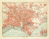 Marseille historischer Stadtplan Karte Lithographie ca. 1906