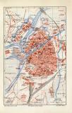 Metz historischer Stadtplan Karte Lithographie ca. 1906