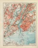 New York historischer Stadtplan Karte Lithographie ca. 1906