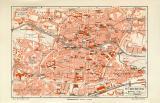 Nürnberg historischer Stadtplan Karte Lithographie ca. 1906