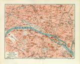 Paris historischer Stadtplan Karte Lithographie ca. 1906