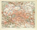 Paris Umgebung historischer Stadtplan Karte Lithographie...
