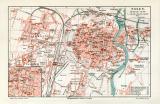 Farbige Lithographie eines Stadtplans von Posen aus dem...