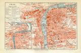 Prag historischer Stadtplan Karte Lithographie ca. 1907
