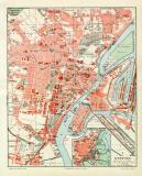 Farbige Lithographie eines Stadtplans von Stettin aus dem...
