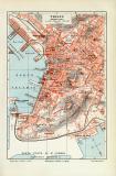 Triest historischer Stadtplan Karte Lithographie ca. 1908