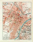 Turin historischer Stadtplan Karte Lithographie ca. 1908