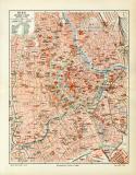 Wien historischer Stadtplan Karte Lithographie ca. 1908