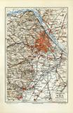 Wien Umgebung historische Landkkarte Lithographie ca. 1908