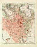 Wiesbaden historischer Stadtplan Karte Lithographie ca. 1908