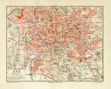 Rom historischer Stadtplan Karte Lithographie ca. 1907