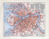 Farbige Lithographie eines Stadtplans von St. Petersburg...