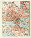 Stockholm historischer Stadtplan Karte Lithographie ca. 1908