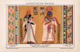 Chromolithographie aus 1891 zeigt König Amenophis mit...
