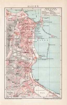 Farbige Lithographie aus dem Jahr 1891 zeigt einen Stadtplan von Algier im Maßstab 1 zu 20.500.