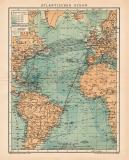 Farbige Lithographie aus dem Jahr 1891 zeigt eine Karte...