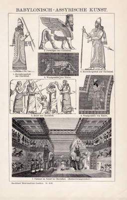 Stich aus 1893 zeigt 7 Abbildungen babylonisch assyrischer Kunst. Die Rückseite zeigt 34 Abbildungen babylonisch assyrischer Altertümer.