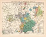 Farbige Lithographie aus dem Jahr 1891 zeigt Karten zur...