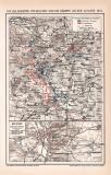 Farbige Lithographie aus dem Jahr 1891 zeigt Karten zu...