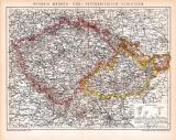 Böhmen Mähren Schlesien Karte Lithographie 1892...