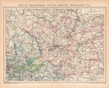 Brandenburg Sachsen Karte Lithographie 1899 Original der...