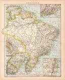Brasilien Karte Lithographie 1899 Original der Zeit