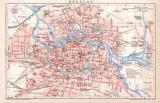 Breslau Stadtplan Lithographie 1899 Original der Zeit