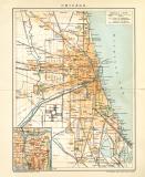 Chicago Stadtplan Lithographie 1899 Original der Zeit