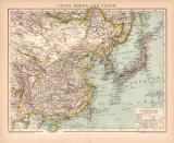 China Korea Japan Karte Lithographie 1899 Original der Zeit