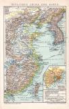 China Korea Karte Lithographie 1899 Original der Zeit