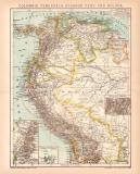 Kolumbien Venezuela Ecuador Peru Bolivien Karte...