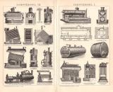 Dampfkessel I. - III. Holzstich 1891 Original der Zeit