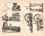 Dampfmaschinen I. - III. Holzstich 1891 Original der Zeit
