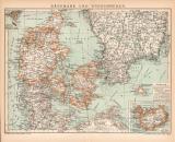 Dänemark Südschweden Karte Lithographie 1899...