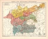 Deutsche Mundarten Lithographie 1899 Original der Zeit