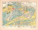 Deutschland geologische Karte Lithographie 1899 Original...