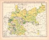 Deutsches Reich Bevölkerung Karte Lithographie 1899...