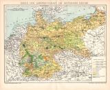 Landwirtschaft Deutsches Reich Karte Lithographie 1899...