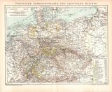 Deutsches Reich Politische Karte Lithographie 1899...