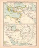Diadochenreiche Karte Lithographie 1891 Original der Zeit