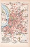 Düsseldorf Stadtplan Lithographie 1899 Original der...