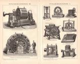 Dynamomaschinen I. + III. Holzstich 1891 Original der Zeit