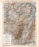 Elsass Lothringen Rheinpfalz Karte Lithographie 1899...