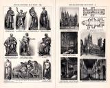 Englische Kunst I. - III. Holzstich 1891 Original der Zeit