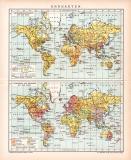 Erdkarten Karte Lithographie 1892 Original der Zeit