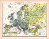 Europa Regenkarte Karte Lithographie 1892 Original der Zeit