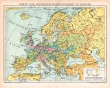 Europa Bevölkerung Karte Lithographie 1899 Original...