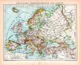Europa politische Karte Lithographie 1899 Original der Zeit