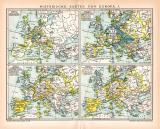 Europa Historische I. Karte Lithographie 1892 Original...